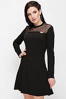 """Модное приталенное женское черное платье с сеткой, длинный рукав """"Valencia"""""""