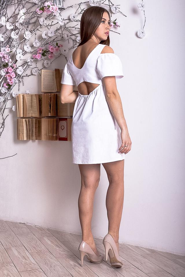 7bd6dd935b9b4ba Летнее льняное женское платье белое р.44-46 Y228-5, цена 399 грн ...
