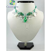 """Эксклюзивное ожерелье """"Нефритовая лилия"""", Изысканное ожерелье из нефрита, Ожерелье зеленого цвета"""
