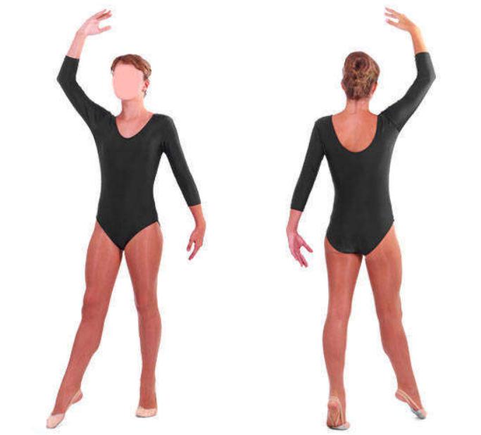 Купальник для гимнастики черный с длинным рукавом S