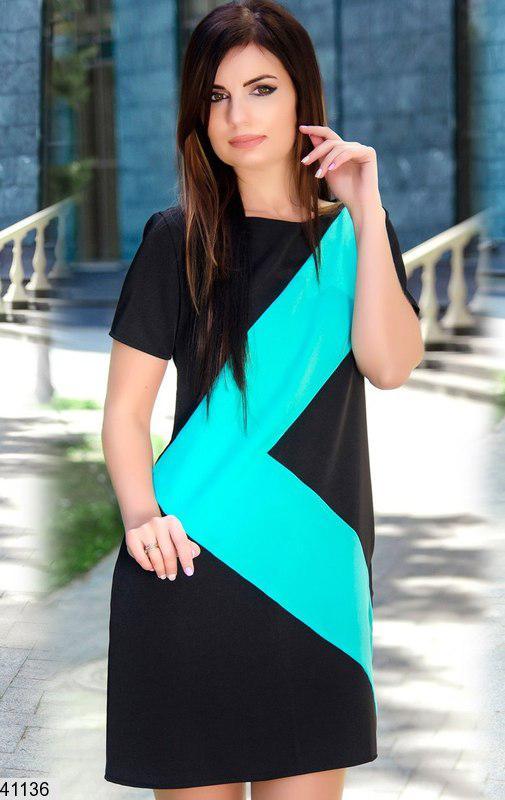 Летнее платье мини свободного кроя короткий рукав черное с ментолом