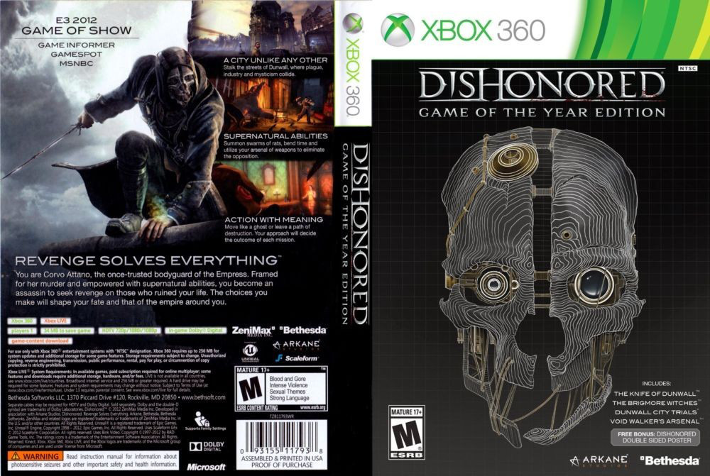 Dishonored - Game of the Year Edition (2 диска, русский текст)