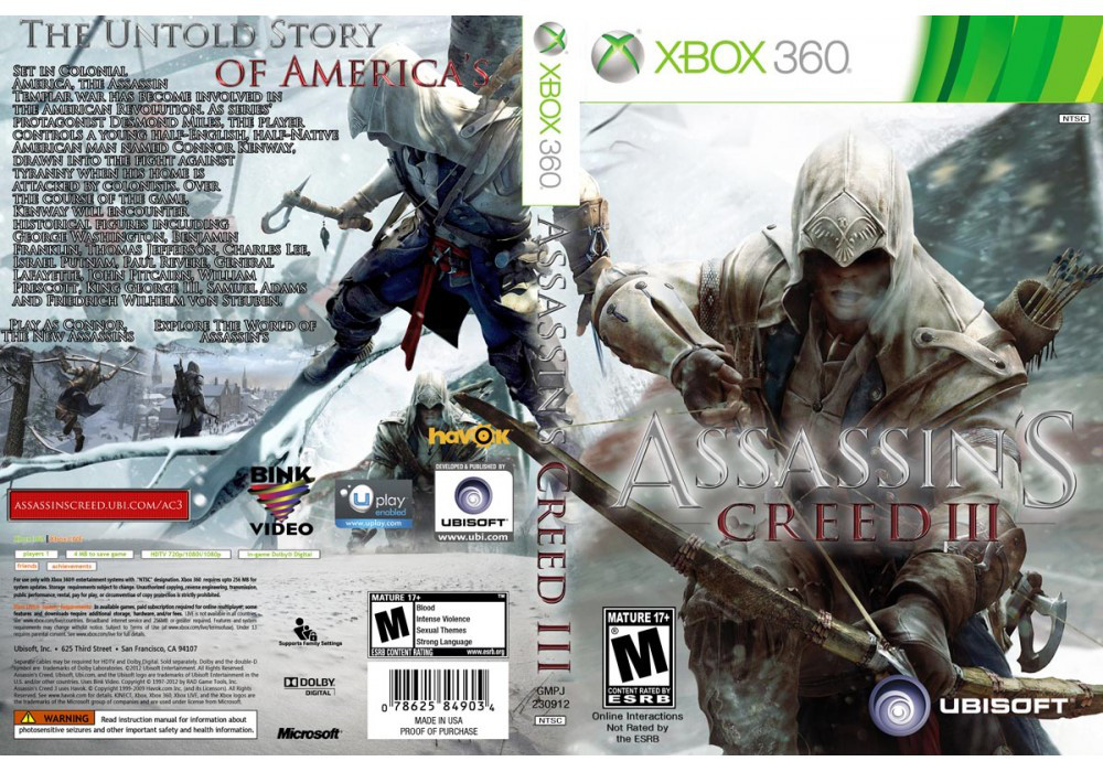 Assassin's Creed 3 (русский текст и звук) (2 диска, +мультиплеер)