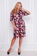 Яркое красивое платье с поясом и разрезом спереди,бордовое принт Аисты, большие размеры Руслана-Б КД к/р