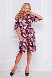 Яскраве гарне плаття з поясом і розрізом спереду,бордове принт Лелеки, великі розміри Руслана-Б КД к/р