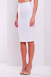 Белая классическая юбка карандаш средней длины мод. №20 Б большие размеры