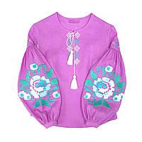 Вишиванка жіноча рожева лаванда пишні рукава вишивка м ята білий 73a4156771346