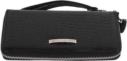 Кошелек-клатч кожаный, женский, под рептилию Vip Collection: 1502A croc черный
