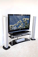"""Тумба ТВ стеклянная на хромированных ножках Maxi ER 1125 - 25 """"прозрачный"""" стекло, хром, фото 1"""