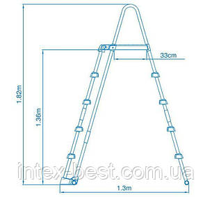 Лестница для бассейна 2-секционная, со съемными ступенями, h=132см ,28077 INTEX, фото 2