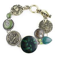 Винтажный женский браслет с горным хрусталем в золотисто-зеленой гамме