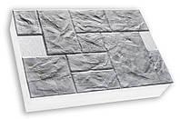 Фасадная термопанель c пенополистиролом 100мм Sunrock песчаник колотый, белый цемент, 600x400мм