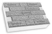 Фасадная термопанель c пенополистиролом 50мм Sunrock кирпич короед, серый цемент, 600x400мм