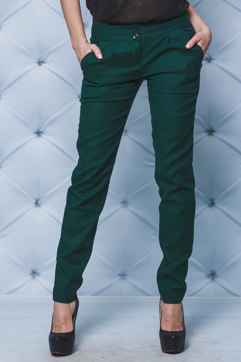 Женские брюки лен зеленые