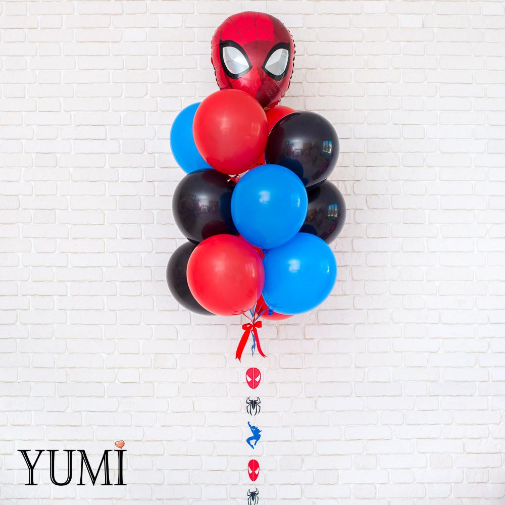 Композиция из гелиевых шаров с человеком пауком
