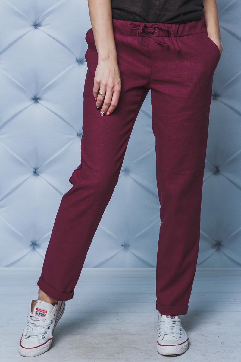 Женские брюки лен на шнурке бордо