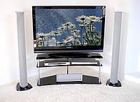 """Тумба ТВ стеклянная на хромированных ножках Maxi ER 1125 - 25 """"матовый"""" стекло, хром, фото 1"""