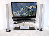 "Тумба ТВ стеклянная на хромированных ножках Maxi ER 1125 - 25 ""тонированный"" стекло, хром, фото 1"