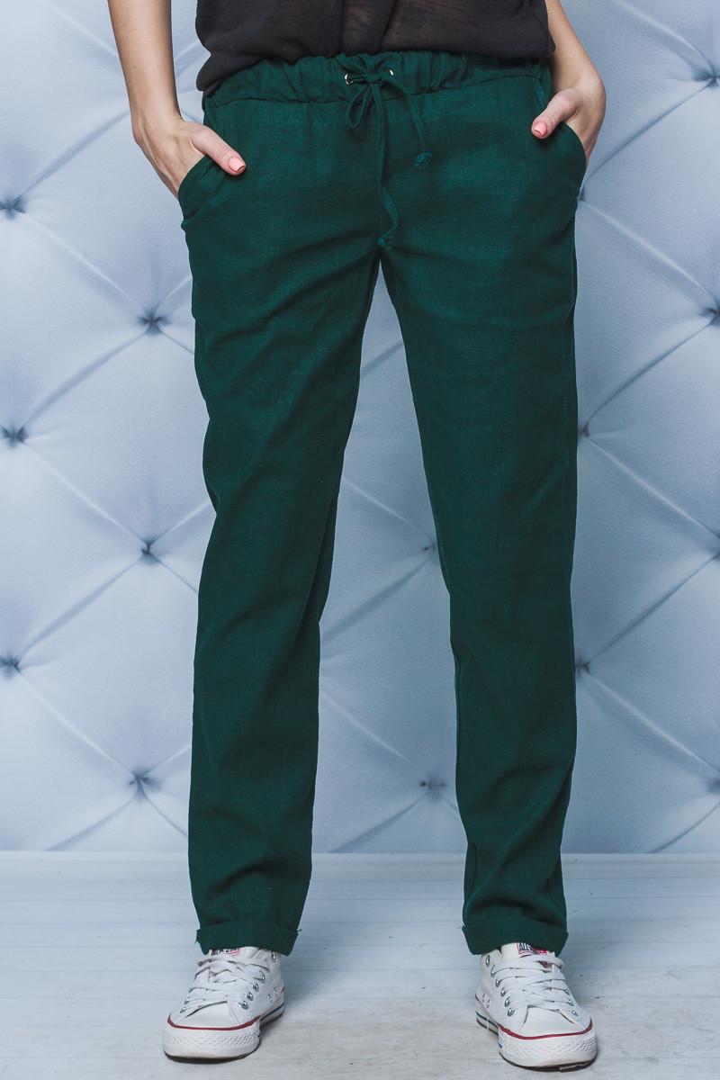 Женские брюки лен на шнурке зеленые