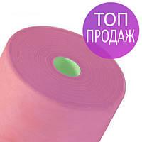 Одноразовые простыни в рулонах 0,8х100 метров 25 г/м2, медицинские,для гигиены, розовые