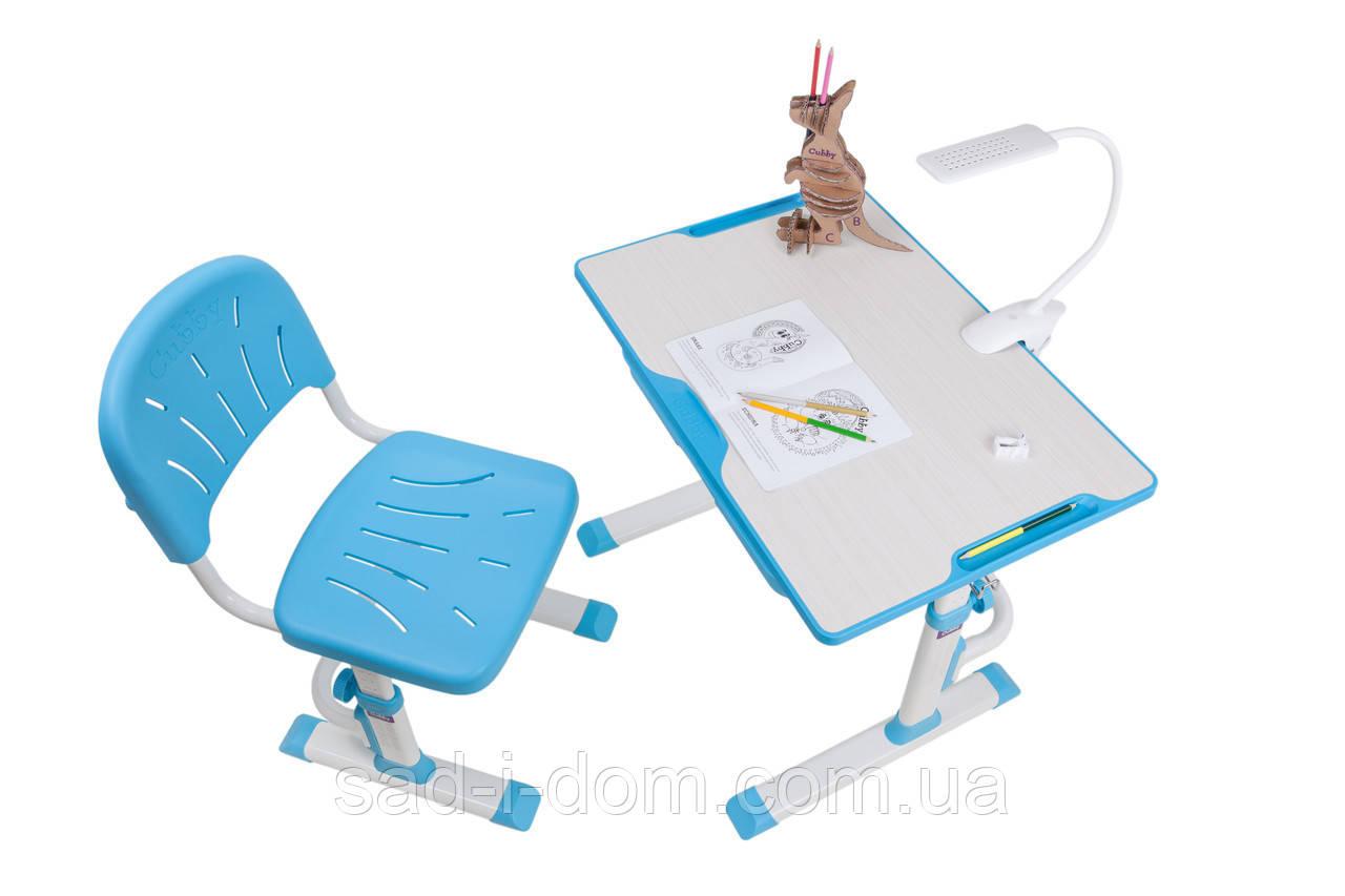 Детская растущая парта-трансформер и стул Cubby Lupin, голубая