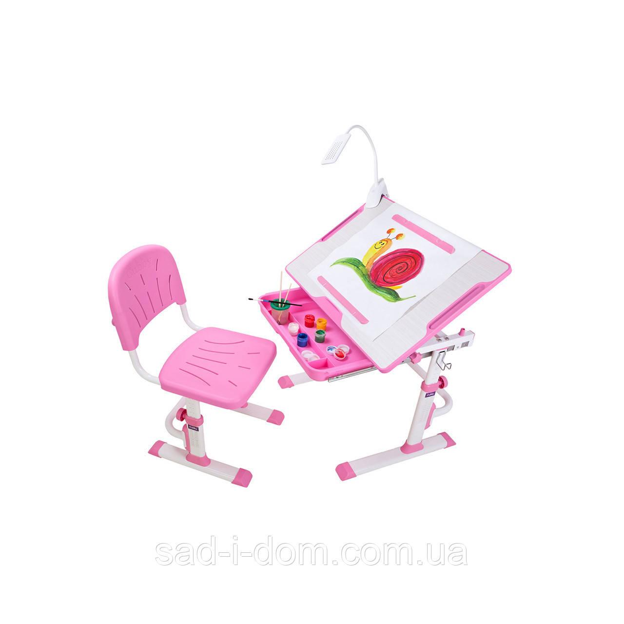 Детская парта и стул для школы Cubby Karo, розовая