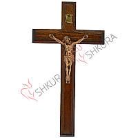 Резной крест 18, орех, медь