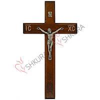 Резной крест 18, орех, серебро