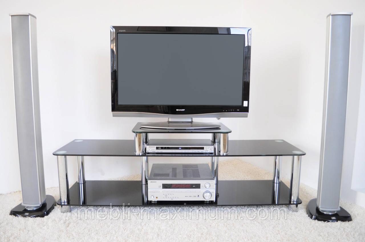 """Тумба ТВ Maxi EXR 1605 """"черный"""" стекло, хром, фото 1"""