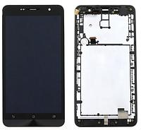 Модуль Asus ZenFone 6 (A600CG/A601CG) (дисплей + тачскрин), черный, Deep Black, с передней панелью