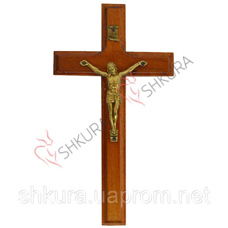 Резной крест 18, черешня, латунь