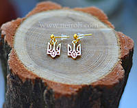 """Серьги """"Герб Украины"""". Тризуб малый. Цвет золото"""