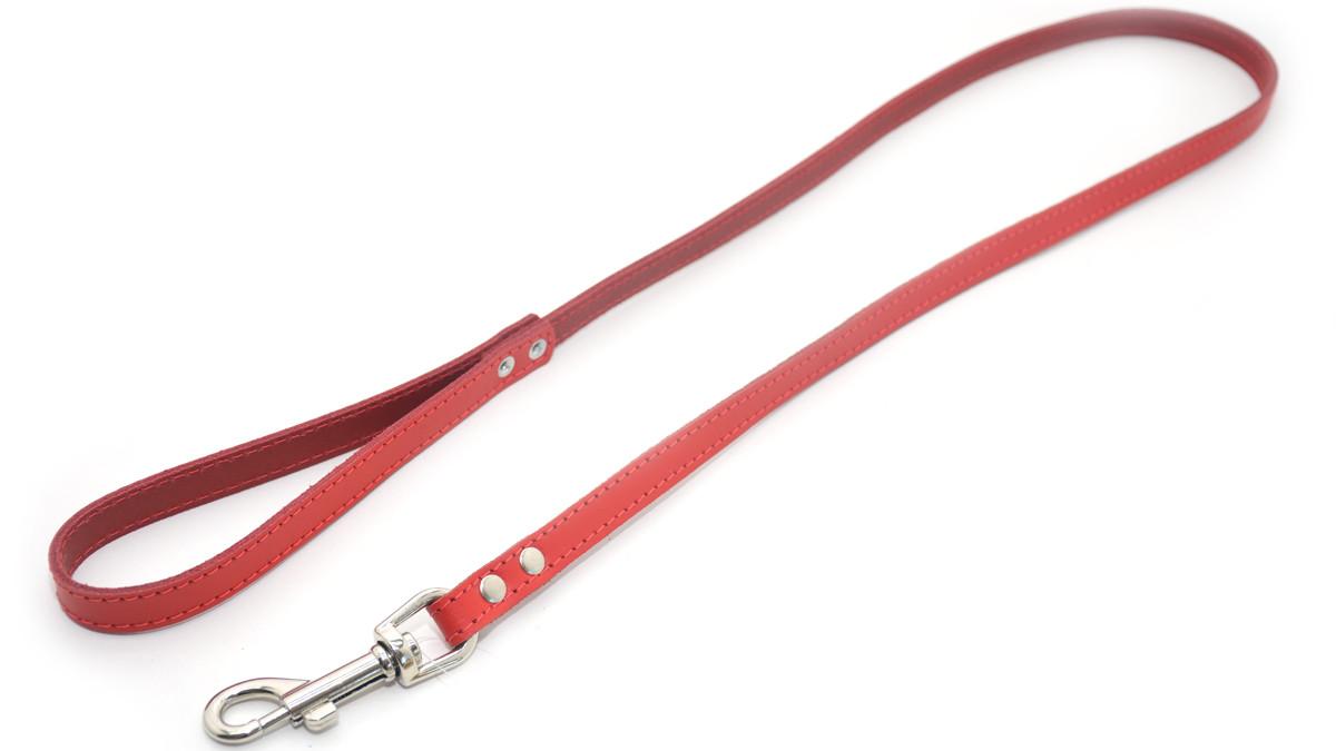 Поводок для собак кожа спилок СП красный