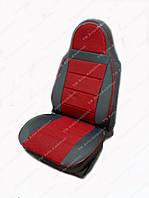 Красные Чехлы на сиденья из кожзама , Автоткани, экокожа, Комбинированные, пилоты ВАЗ 2105, фото 1