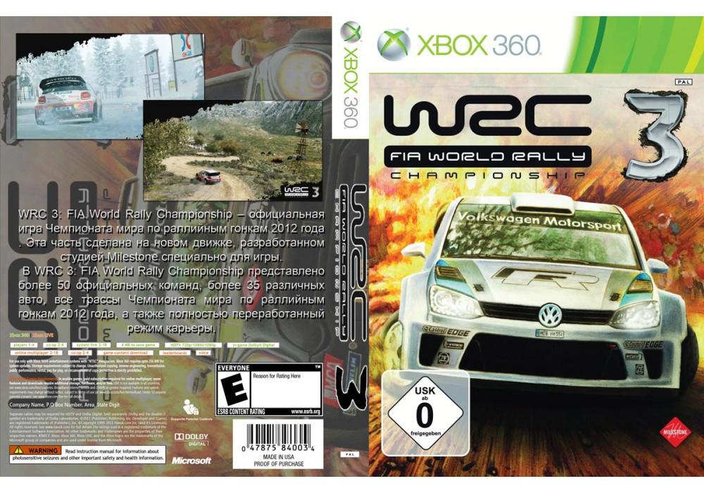 Игра для игровой консоли Xbox 360, WRC 3 FIA World Rally Championship