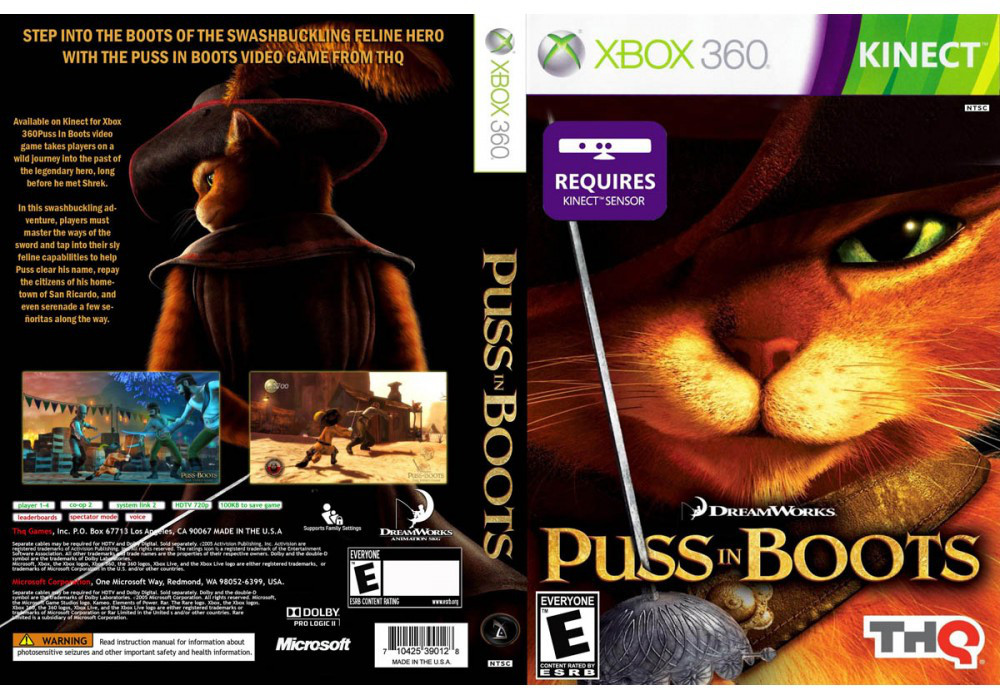 Игра для игровой консоли Xbox 360, Puss in Boots [Kinect]