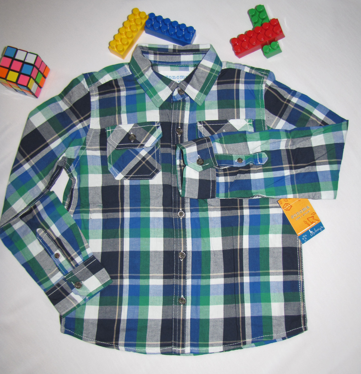 Рубашка Sonoma оригинал  рост 122 см синяя+зеленая 07055