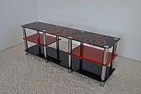 """Тумба ТВ стеклянная на хромированных ножках Махі EXR 1600 """"черно-красный"""" стекло, хром, фото 1"""