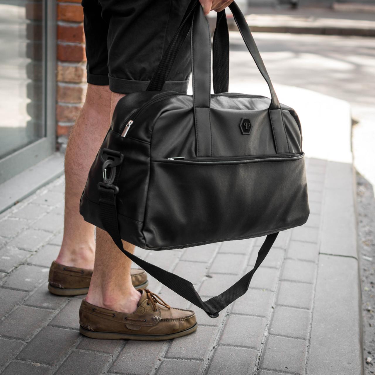 242ec9e33724 Сумка кожаная Philipp Plein Ghost дорожная мужская сумка из кожи.