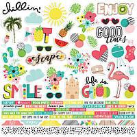 Наклейки - Hello Summer - Simple Stories - 30x30
