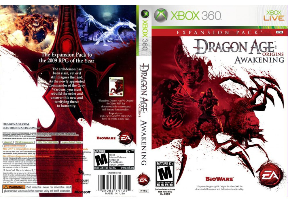 Игра для игровой консоли Xbox 360, Dragon Age: Origins - Awakening