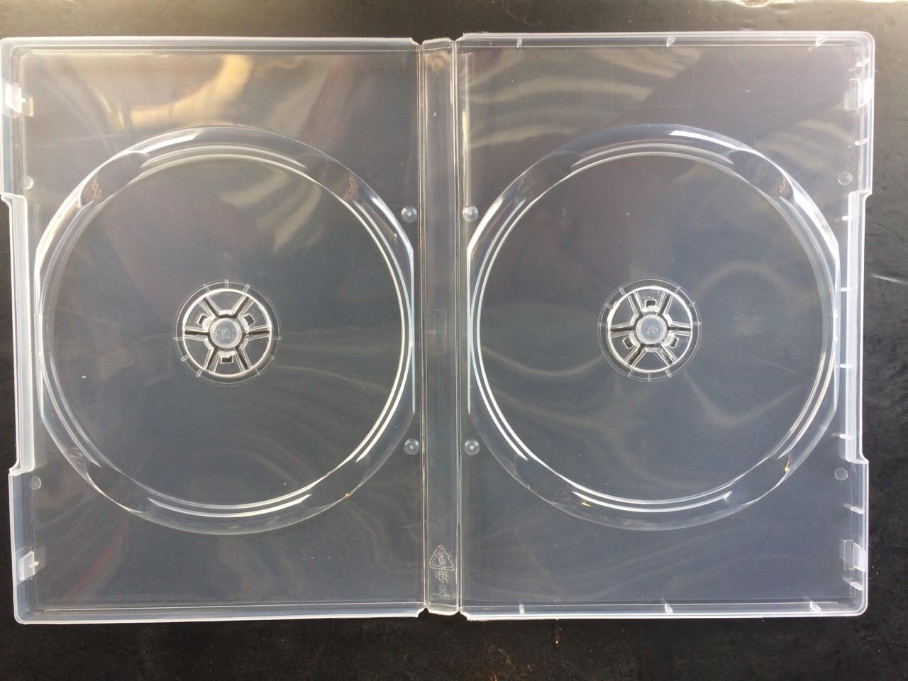 Бокс для 2 DVD диска 14mm полупрозрачный трей, глянцевая пленка