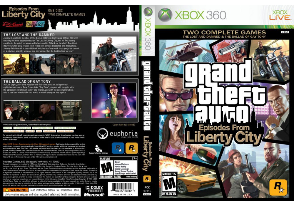 Игра для игровой консоли Xbox 360, Grand Theft Auto: Episodes from Liberty City