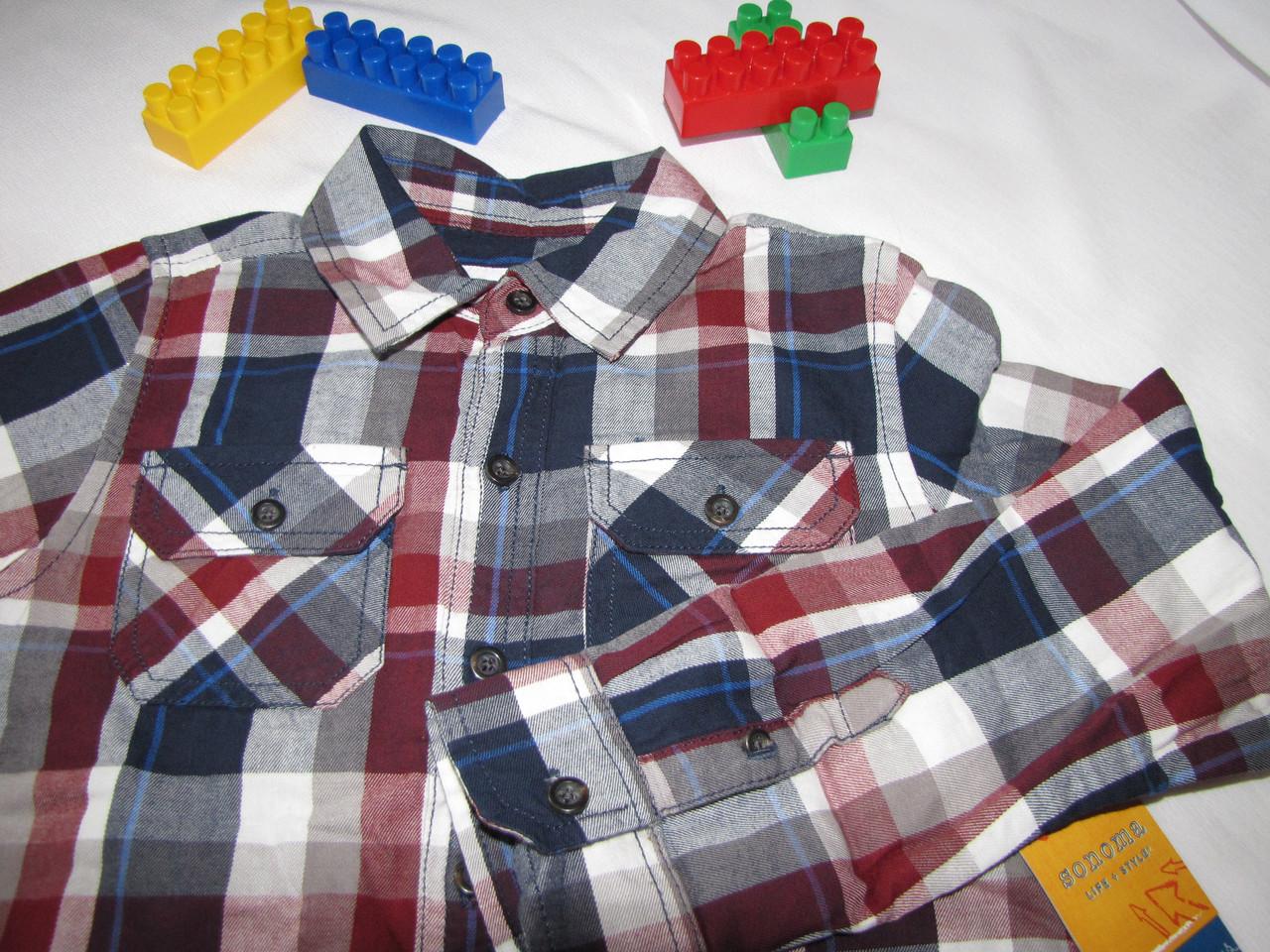 Рубашка  Sonoma оригинал рост 122 см синяя+красная 07054