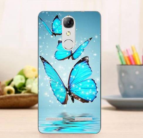 Силиконовый чехол для Lenovo Vibe K6 с рисунком три голубые бабочки, фото 2