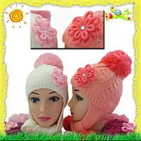Детская шапочка для девочки на флисе