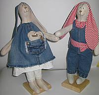 Игрушка мягкая Зайчики в джинсе Мальчик и девочка, фото 1