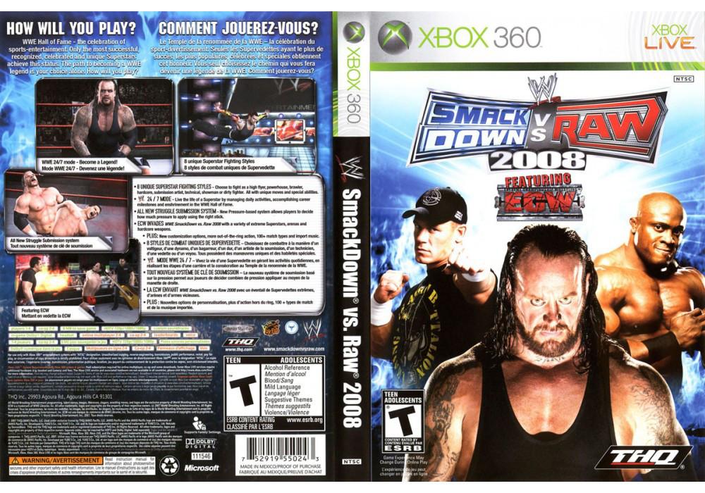 Игра для игровой консоли Xbox 360, WWE SmackDown vs RAW 2008