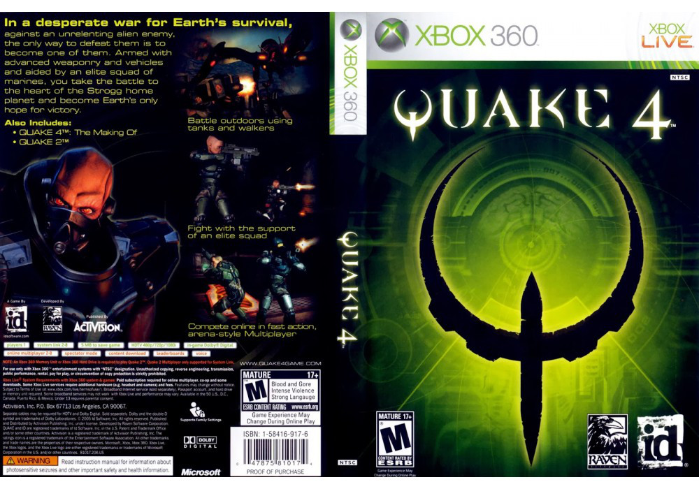 Игра для игровой консоли Xbox 360, Quake 4