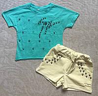 Детский комплект шорты и футболка для девочки 4-7 лет, фото 1